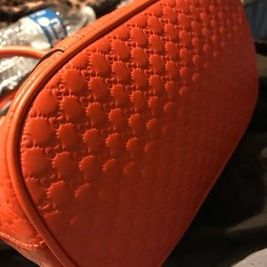 Micro Gg  Convertible Orange Leather Cross Body